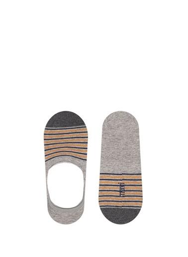 Mavi Çizgili  Çorap Gri